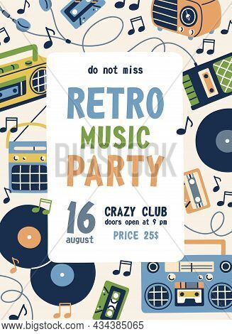 Flyer Template For Retro Music Party. Ad Poster Design For Nostalgia Musical Event In 60s And 70s St