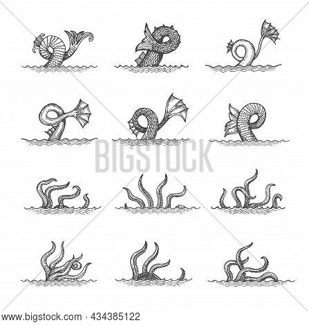 Octopus Tentacles Sketch, Monster Kraken Tail Or Squid Waving Palps In Sea. Vector Fantasy Creature,