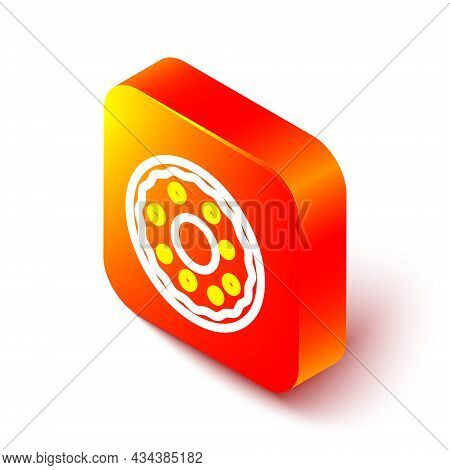 Isometric Line Donut With Sweet Glaze Icon Isolated On White Background. Orange Square Button. Vecto