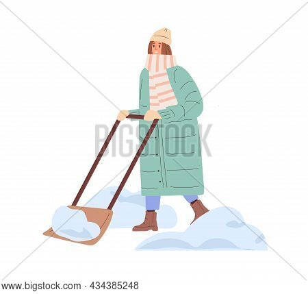 Person Removing Snow With Shovel In Winter. Woman In Scarf Cleaning Street With Manual Snowplow Afte