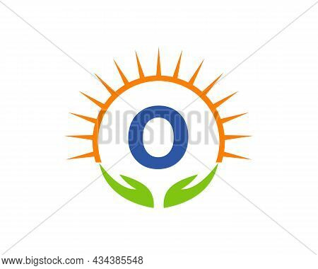 Charity Logo With Hand, Sun And O Letter Concept. Letter O Charity Logo Template Donation Organizati
