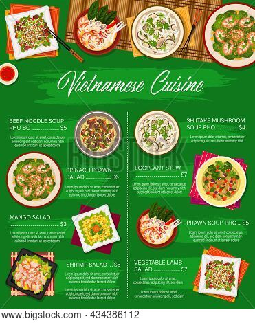 Vietnamese Cuisine Vector Menu Template Vegetable Lamb Salad, Beef Noodle Soup Pho Bo And Spinach Pr