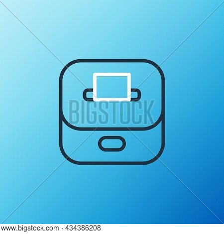 Line Vote Box Or Ballot Box With Envelope Icon Isolated On Blue Background. Colorful Outline Concept