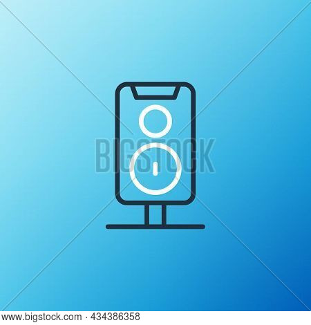 Line Stereo Speaker Icon Isolated On Blue Background. Sound System Speakers. Music Icon. Musical Col