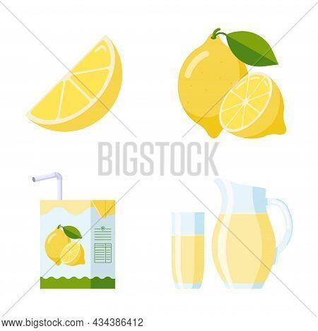 Fresh Lemon Fruit And Lemonade Set. Flat Style Collection: Lemon Slice And Whole Fruit, Lemon Juice