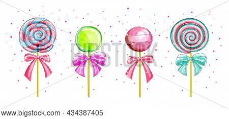 Candies, Lollipop With Bows . Vector Set Of Sweets, Spiral Striped Lollypops, Isolated On White Back