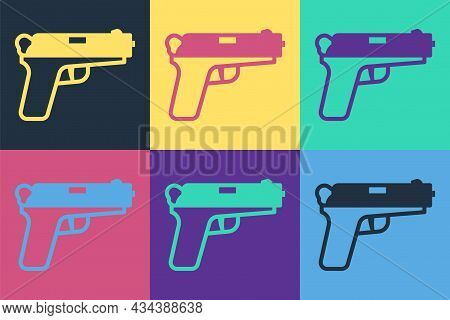 Pop Art Pistol Or Gun Icon Isolated On Color Background. Police Or Military Handgun. Small Firearm.