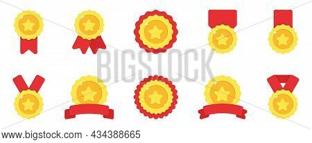 Set Of Gold Medals With Red Ribbon And Stars On White Background. Shiny Golden Award Collection For