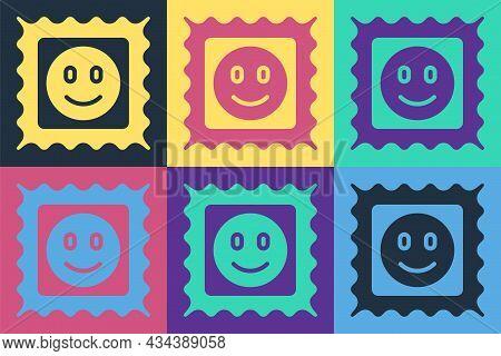 Pop Art Lsd Acid Mark Icon Isolated On Color Background. Acid Narcotic. Postmark. Postage Stamp. Hea