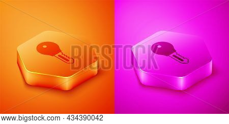 Isometric Hotel Door Lock Key Icon Isolated On Orange And Pink Background. Hexagon Button. Vector