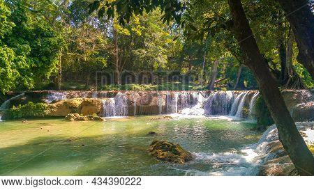 Panoramic Exotic  Beautiful Tropical Deep Rainforest Waterfall   Fresh Waterfalls In Deep Forest