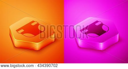 Isometric Baby Absorbent Diaper Icon Isolated On Orange And Pink Background. Hexagon Button. Vector