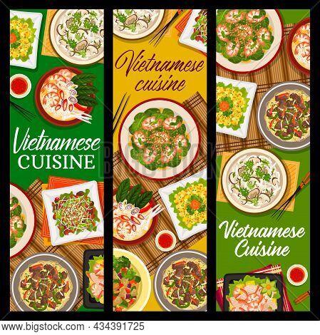 Vietnamese Cuisine Vector Mango Salad, Shiitake Mushroom Soup Pho And Vegetable Lamb Salad. Beef Noo