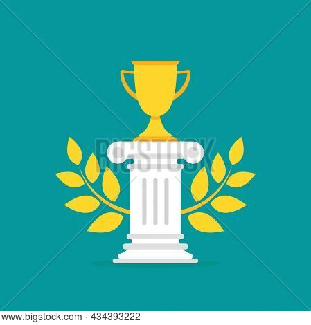 Winner Pedestal With Gold Trophy, Winning Cup And Laurel. Podium For Best Product With Greek Or Roma