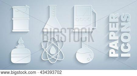 Set Atom, Petrol Or Gas Station, Alcohol Spirit Burner, Oil Petrol Test Tube, And Barrel Oil Leak Ic