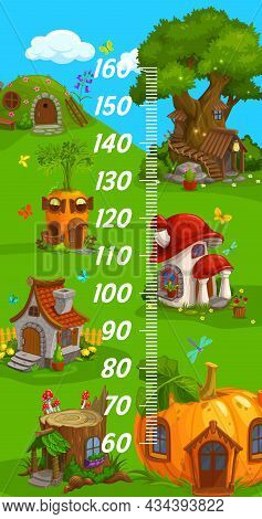Kids Height Chart, Gnome Elf And Wizard Cartoon Home Dwellings, Vector Growth Measure Ruler. Kid Bab