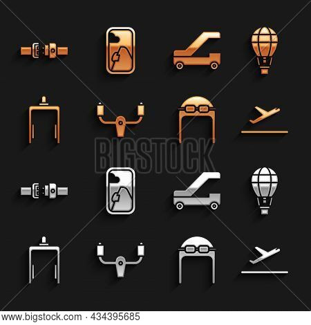 Set Aircraft Steering Helm, Hot Air Balloon, Plane Takeoff, Aviator Hat With Goggles, Metal Detector