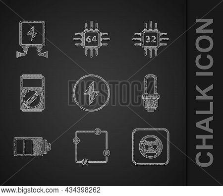 Set Lightning Bolt, Electric Circuit Scheme, Electrical Outlet, Led Light Bulb, Battery Charge Level