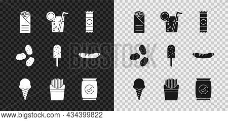 Set Doner Kebab, Cocktail, Chocolate Bar, Ice Cream In Waffle Cone, Potatoes French Fries Box, Bag O