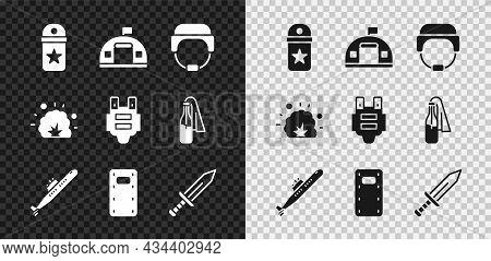 Set Chevron, Military Barracks, Helmet, Submarine, Assault Shield, Sword, Bomb Explosion And Bulletp