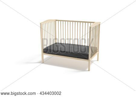 Blank Wood Cot With Black Crib Sheet Mockup, Half-turned View, 3d Rendering. Empty Wooden Lattice Wi
