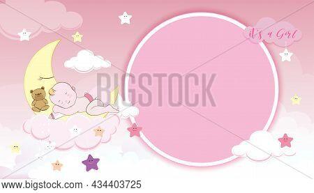 Baby Shower Card,cute Little Girl Sleeping On Crescent Moon, Milk Bottle And Teddy Bear On Pink Sky