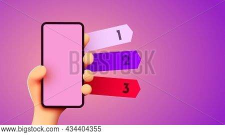 Cute 3d Hand Holding Smartphone Mockup. Mockup With Three Options. Mobile Info Concept.