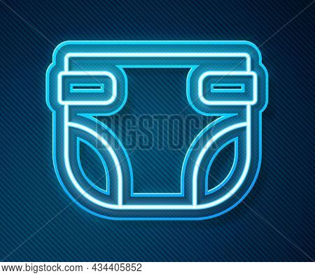 Glowing Neon Line Baby Absorbent Diaper Icon Isolated On Blue Background. Vector