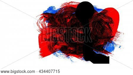 Mid section of silhouette of female handball player against red, blue and black paint brush strokes. sports and competition concept