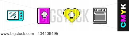 Set Microwave Oven, Cookbook, Chef Hat And Oven Icon. Vector