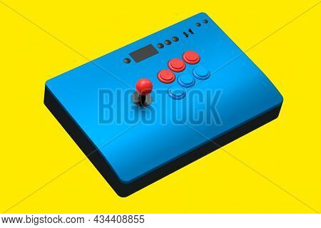 Vintage Blue Arcade Stick With Joystick And Tournament-grade Buttons On Yellow