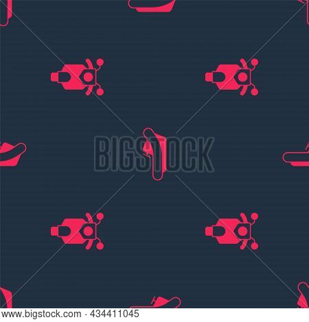 Set Scooter And Rafting Boat On Seamless Pattern. Vector
