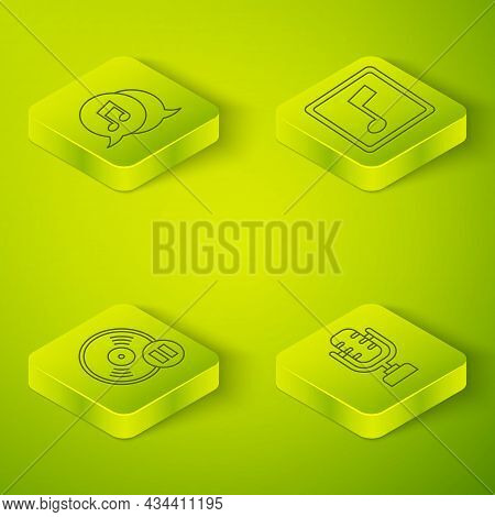 Set Isometric Music Note, Tone, Vinyl Disk, Microphone And Musical Note In Speech Bubble Icon. Vecto