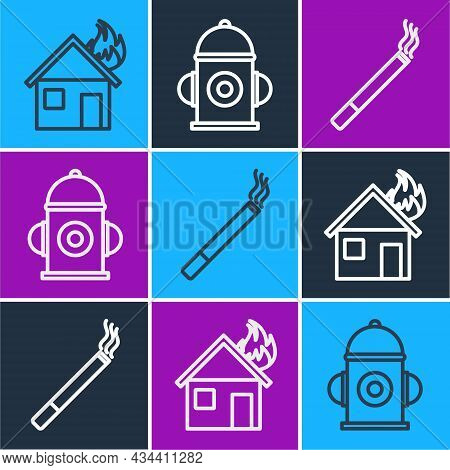 Set Line Fire In Burning House, Cigarette And Fire Hydrant Icon. Vector