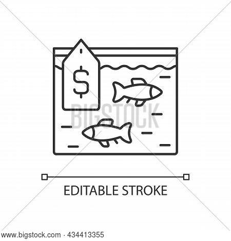 Live Fish Trade Linear Icon. Fresh Catch Selling. Aquarium And Ornamental Fish. Consumers Demand. Th