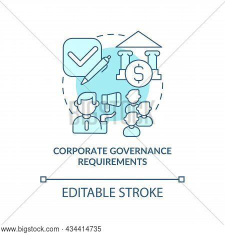 Corporate Governance Concept Icon. Enterprise Standarts. Company Directing Or Controlling Process Ab
