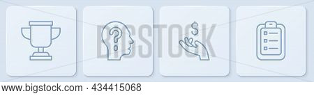 Set Line Award Cup, Hand Holding Coin Money, Head With Question Mark And To Do List Or Planning. Whi