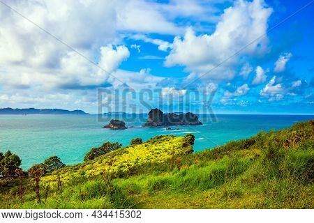 New Zealand, Pacific Ocean. Road to the Cathedral Cove on the North Island. Incredible clouds over the evening tide. The concept of active, exotic, ecological and photo tourism