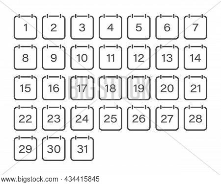 Set Of Calendar Icons With The Dates Of The Month. A Set Of Sheets Of A Flip Calendar With The Numbe