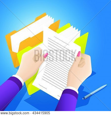 Concept. Female Hands Hold Paper Document Of Clerical Archival Folder. Storage Of Documents, Stateme