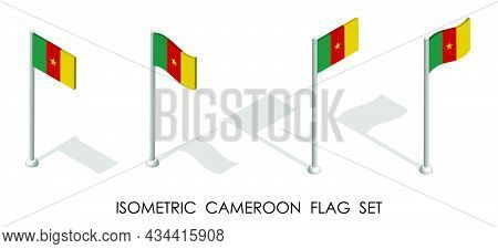 Isometric Flag Of Cameroon In Static Position And In Motion On Flagpole. 3d Vector