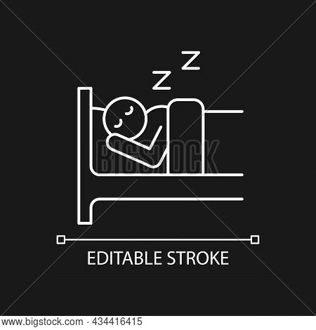 Sleep White Linear Icon For Dark Theme. Person Sleeping Soundly In Bed. Healthy Lifestyle, Habits. T