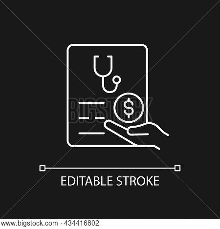 Paid Sick Days White Linear Icon For Dark Theme. Keep Employees Healthy. Decreasing Absenteeism. Thi