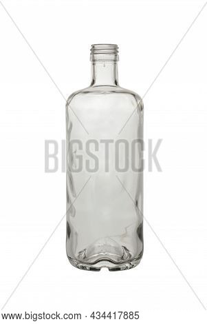 Empty, Open Bottle Made Of Transparent, Colorless Glass For Alcoholic Beverages And Other Liquids. I