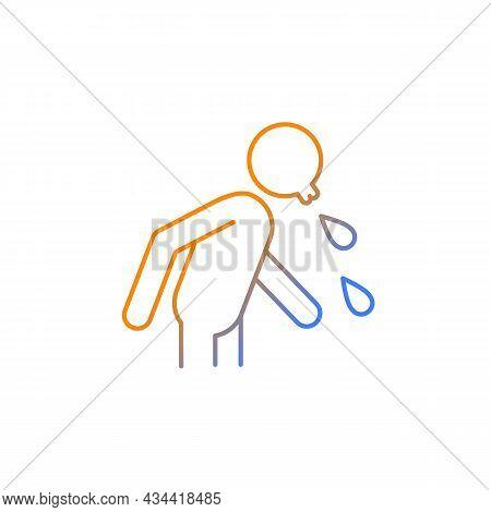 Spit Gradient Linear Vector Icon. Rude, Indecent Behavior In Public Places. Lack Of Manners. Sneezin