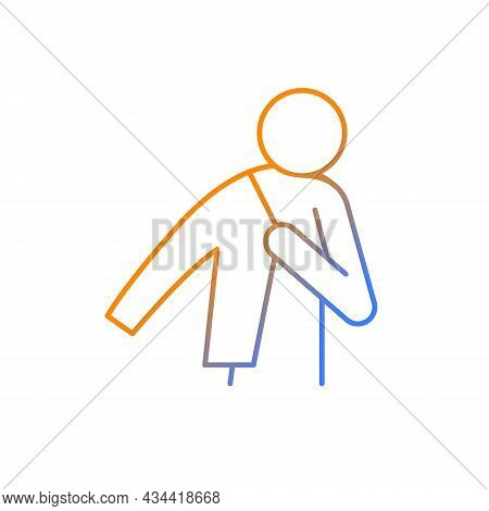 Dress Up Gradient Linear Vector Icon. Person Putting On Jacket. Man Getting Ready To Go To Work. Wea
