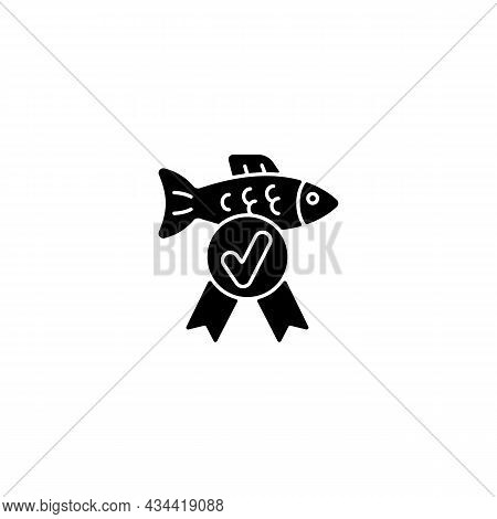 Fish Quality Control Black Glyph Icon. Checking Seafood Toxic Containment. Standard And Assessment.