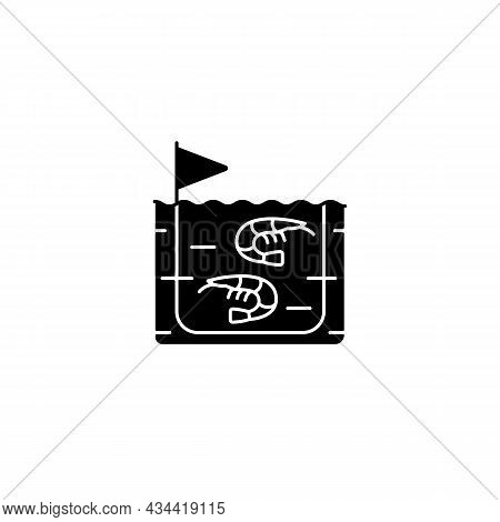 Shrimp Farming Black Glyph Icon. Prawn Commercial Production And Breeding. Shrimps Growing In Tanks