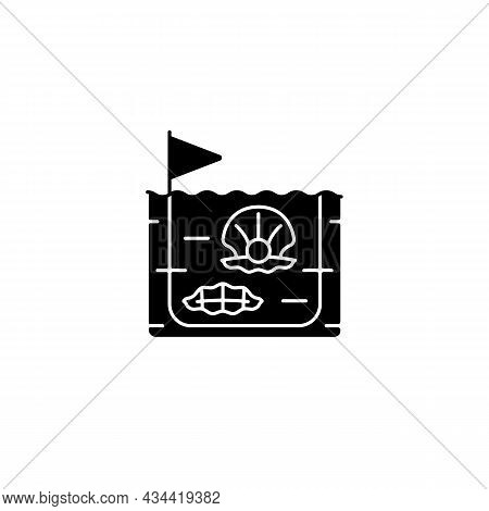 Pearl Farming Black Glyph Icon. Commercial Production Of Gemstones. Pearl Extraction. Perliculture.