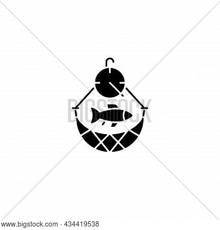 Overfishing Black Glyph Icon. Depletion Of Species. Excessive Amount Of Seafood Harvest. Ecosystem E